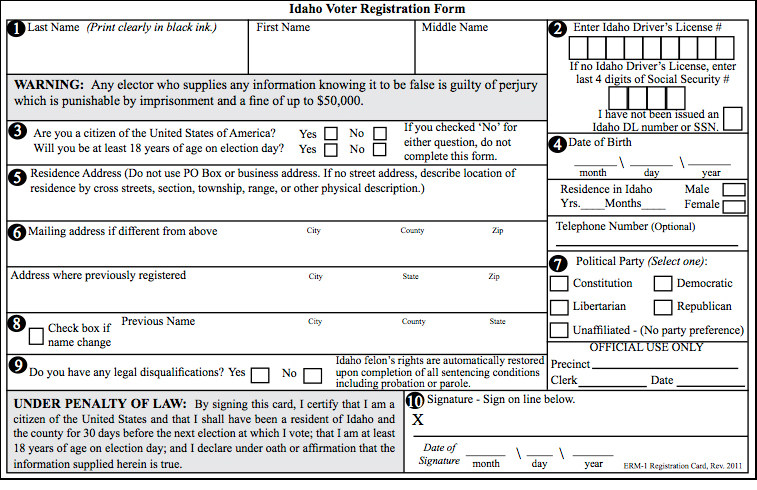 ID Vote Reg Form